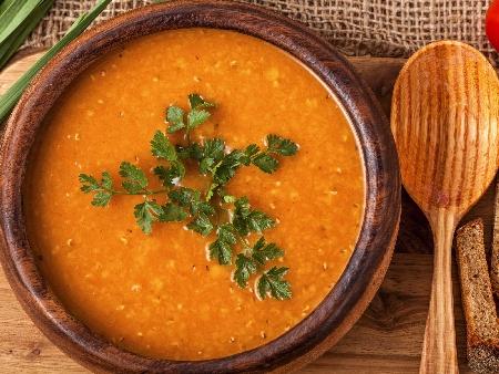 Крем супа от червена леща в мултикукър - снимка на рецептата